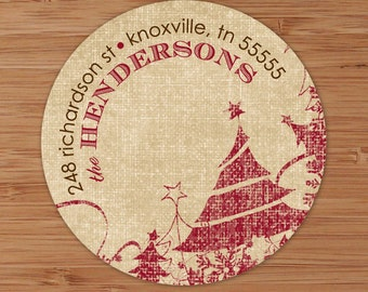 Shabby Christmas Trees - CUSTOM Christmas Address Labels or Stickers
