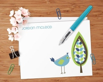 Jordan (Retro Tree and Bird) - Set of 8 CUSTOM Personalized Flat Note Cards/ Stationery