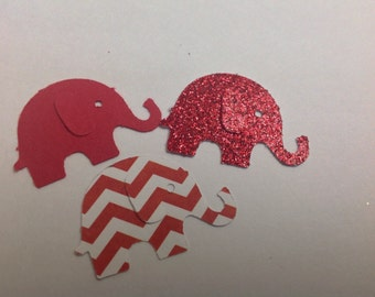 Red and White Paper Elephant Confetti 50 pc New Baby   Baby Shower