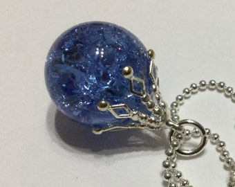 Vintage fried marble pendant - sapphire blue shattered glass necklace
