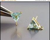 15% SALE 2 aqua blue / aquamarine blue glass stone earrings, glass crystal earrings DIY bridal / bridesmaid earrings 5138G-Aq