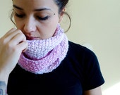 Knitted Infinity Cowl Scarf in Pink Made with 100% Angora Wool Handmade