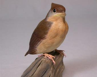 baby northern cardinal Original Wood Carving