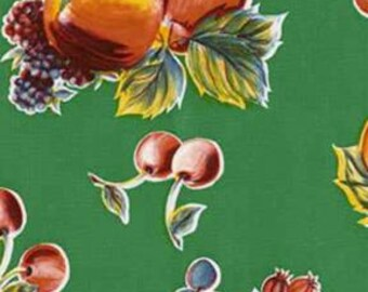 Green Pears and Apples Oilcloth Fabric