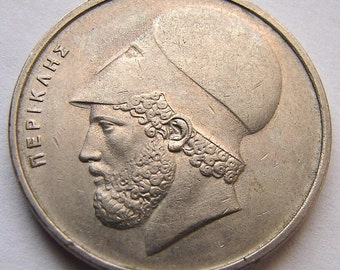 GREEK COIN CHARM Vintage 1976 Greece Pericles 20 drachmas Copper Nickel Coin charm