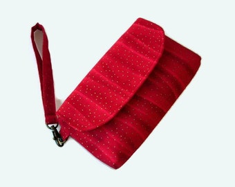 Christmas Red Wristlet - Christmas Clutch - Small Holiday Small Purse - Red Phone Pouch - Evening Clutch - Removable Strap