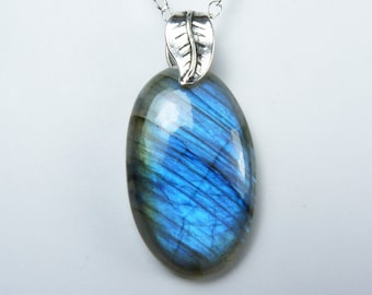 Labradorite Necklace, Luminous Labradorite Pendant with Glowing Sky Blue and Cobalt Blue Flash, Sterling Silver Bail and Chain