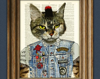 Billy Rotten the Punk Rock Alley Cat has been on the scene a long, long time beautifully upcycled dictionary page book art print