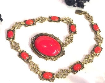 CIJ Christmas July SALE SALE Art Deco Ornate Red Czech Glass Vintage Necklace