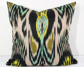 15x15 yellow black green ikat pillow cover, black yellow pillows, black yellow pillows, sofa pillows, cushions, ikats, pillows throw pillows