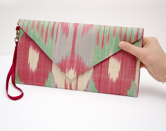 FOR SALE Ikat envelope clutch bag purse, red green ikat, red green purse, red bag