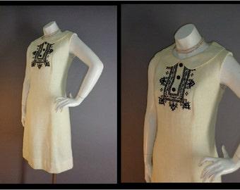 60s dress 1960s vintage BLACK CREAM EMBROIDERY peter pan collar mod A line dress