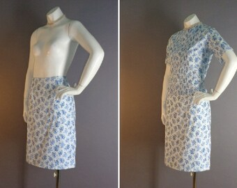 60s dress vintage 1960s BLUE ON BLUE floral flowers print top and pencil skirt 2pc dress set