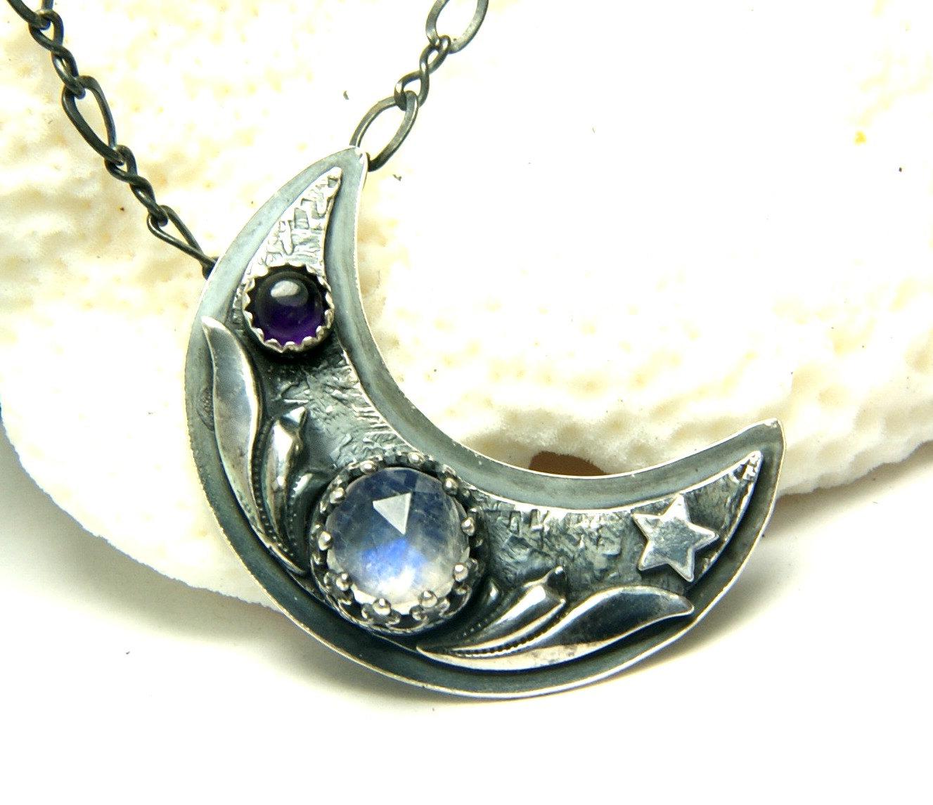 Moonstone Necklaces: Moonstone Necklace Crescent Moon Pendant Bohemian Jewelry