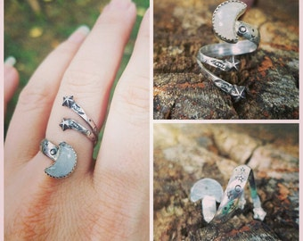 """Sterling Silver """"Shooting Star"""" Crescent Moon and Stars Moonstone Adjustable Wrap Ring"""