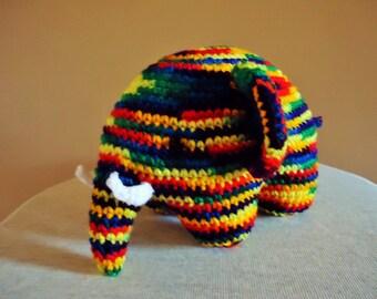 Rainbow elephant soft toy