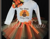 SALE Baby's first 1st Thanksgiving Turkey Day body suit onesie tutu dress outfit with bow sizes newborn, 0-3m, 3-6m, 6-12m 12m 18m