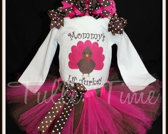 Pink Brown Mommy's lil' Turkey First 1st Thanksgiving Turkey body suit onesie tutu dress outfit with bow sizes newborn, 0-3m, 3-6m, 6-12m