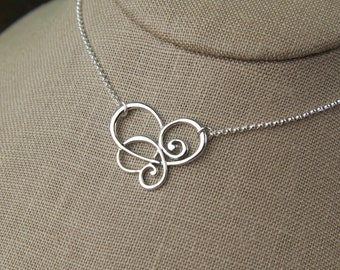 Scroll connector pendant necklace in sterling silver, curls, sterling silver scroll, swirl pendant, sterling silver necklace