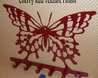 Butterfly Wall Car Key Organizer, Butterflies, Solid Steel, Hardware Included, Cherry Red Finish. Made in USA, Storage Hooks, Kitchen Decor