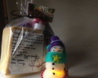 Hoop, Snowman, Snowgirl, Felting Kit, Needle Felt, Felting Supplies, Glow, LED Tealight, Felting Project
