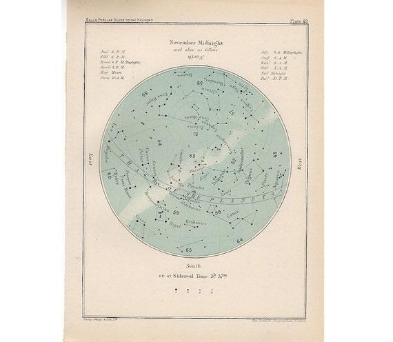 1910 ANTIQUE NOVEMBER CELESTIAL print original antique astronomy lithograph star map of the month - constellation chart sagittarius scorpio