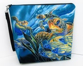 Tall Zippered Pouch, Wild Sea Turtles of the Pacific, Cosmetic Bag, Knitting Project Bag