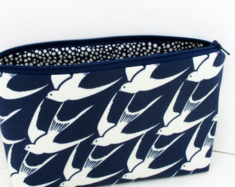 Bluebird Flock, Make Up Bag, Cosmetic Zipper Pouch, Cotton and Steel Fabric