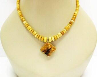 Yellow Jasper Necklace - Golden Brown Necklace - Gemstone Necklace - Pendant Necklace - Fashion Jewelry - Golden Brown Jewelry - Gift Idea