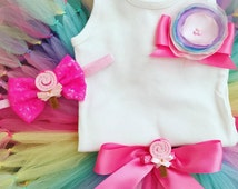 Tutus for Baby Girls, Candyland Birthday Dress Tutu Outfit, 12 Months, 1 Year Old