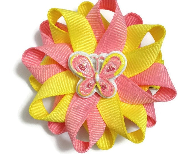 Pink & Yellow Butterfly Hair Bows