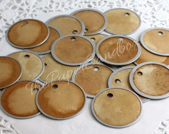 "Unique Round Metal Rim Tea Stained Tags, 1-5/8"" wide, Wedding Favor Tags, Gift Tags, Christmas Tags, Gift Wrapping, Party Supplies"