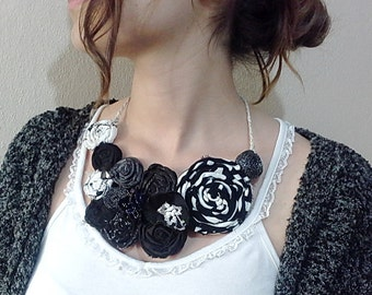Black  Bib necklace, Fabric statement necklace, rolled flower fabric jewelry, handmade rosette necklace