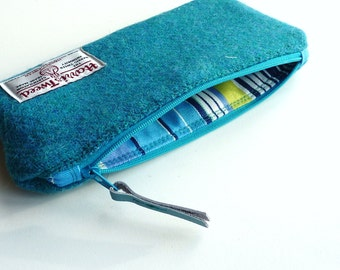 Turquoise Pencil Case, HARRIS TWEED, zipped pouch, wool pouch,  Scottish gift