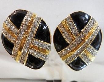 FALL SALE Vintage Rhinestone Earrings. Showstopper Bejeweled Black & Gold X Pave Rhinestone Blingy Earrings. Holiday Earrings.