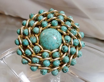 Vintage Turquoise Chain Brooch. Gold Tone Chain and Faux Turquoise Beads Pin.