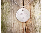 Custom Stamped Necklace // Whiskey // Handmade // Personalized  // Name // Friendship // Silver // Gift