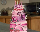"Three Tiered Cake Shaped Birthday Card - 7"" x 4"" - Make a Wish Candles - Strawberries - Buttons - Dimensional Crocheted Flowers -"