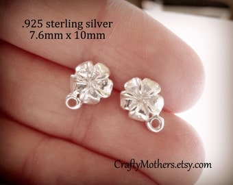 Use TAKE10 for 10% off! ONE Pair Bali Sterling Silver Plumeria Flower Earring Posts, 10mm x 7.6mm, 2 pcs, Artisan-made