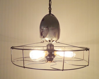 Wagner. INDUSTRIAL LIGHT Chandelier Upcycle Repurpose shown with Edison Bulbs & Original Motor Housing