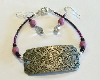 Pretty In Pink - Pink Czech Glass Beaded Bracelet Set with Antiqued Silver Focal Connector