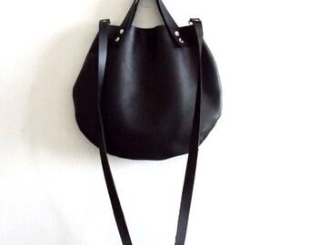 ON SALE Matt Black  leather  basket bag ,Cross-body bag