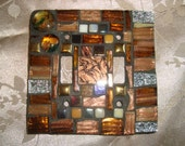 MOSAIC LIGHT SWITCH Plate Cover - Double, Earthtones, Gold, Silver, Wall Art