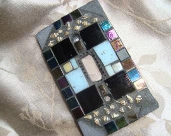 MOSAIC LIGHT SWITCH Plate, Single Switch, Wall Art,Black, Gray, Blue, Boho