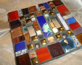 MOSAIC LIGHT SWITCH Plate Cover - Double,  Multicolor, Wall Art, Boho, Red, Blue, Gold, Brown