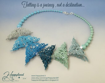 Tatting is a journey , tatted necklace OOAK