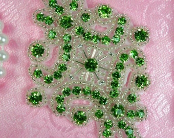 "JB115 Rhinestone Applique Lime Green Silver Beaded Motif 4"" (JB115-lmsl)"