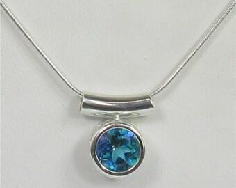 Blue Green Mystic Topaz 8mm Backset Bezel Sterling Silver Gemstone Necklace