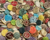 30  CERAMIC mini TILES - Mixed designs - glazed - Great for MOSAICS, magnets, jewelry designs, and more