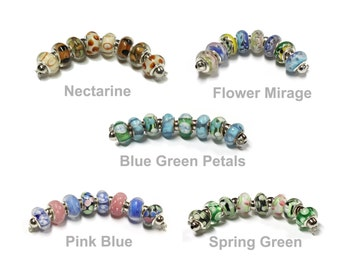 8 Bead Strand - Large Hole Lampwork Beads - 9 x 13mm with 5mm ID - choose from 5 pre-selected mixes - Special Offer ---- Buy 5 get 1 free